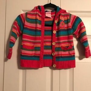 NANNETTE GIRL 4T Striped Cardigan Sweater Pink